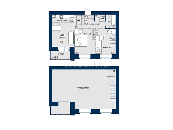 3-комнатная со 63.5 кв.м