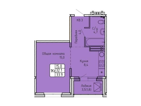 Планировка 1-комн 33,9 м²