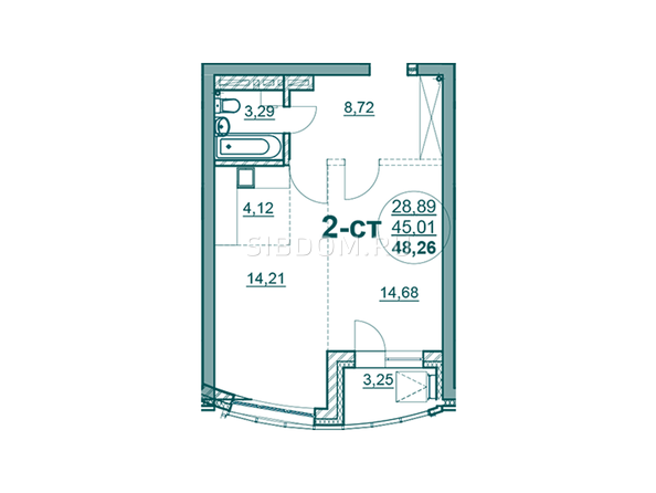 Планировки Жилой комплекс ФЛОТИЛИЯ - 2-комнатная 48,26 кв.м блок Б