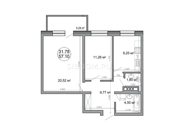 Планировка 2-комн 62,13 м²