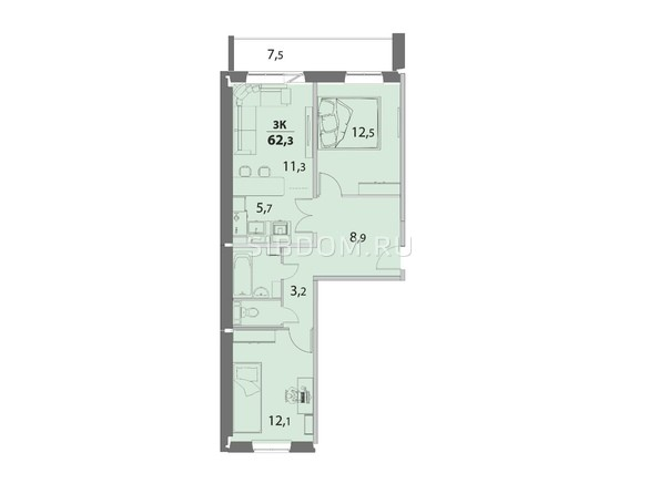 3-комнатная 62.3 кв.м