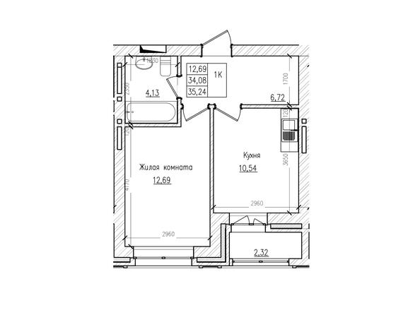 Планировки Жилой комплекс КРАСНЫЙ ПРОСПЕКТ, дом 2 - 1-комнатная 34 кв.м