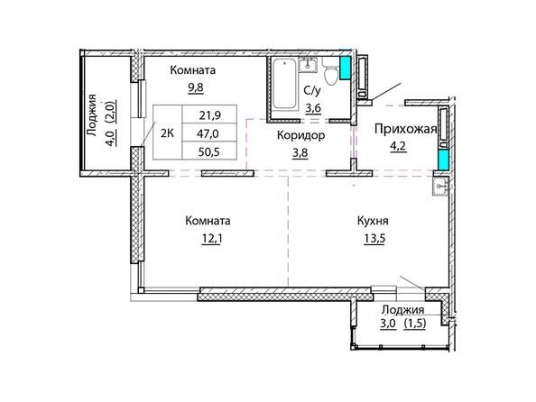 Планировки Жилой комплекс КОСМОНАВТЫ, Б/С 2 - Планировка двухкомнатной квартиры 50,5 кв.м