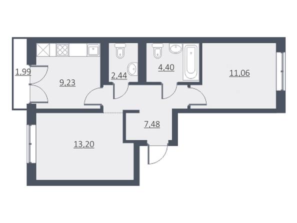 Планировки Жилой комплекс ДУНАЕВСКИЙ, дом 3 - Планировка двухкомнатной квартиры 48,11 кв.м