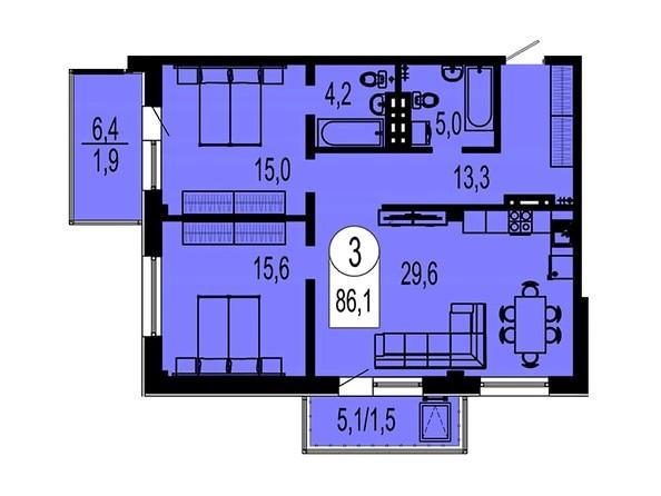 Планировка трехкомнатной квартиры 86,1 кв.м