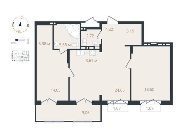 3-комнатная 80,16 кв.м