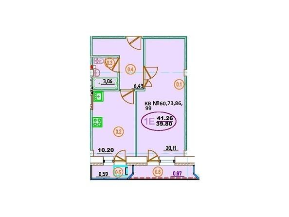 Планировка 1-комн 41,26 м²
