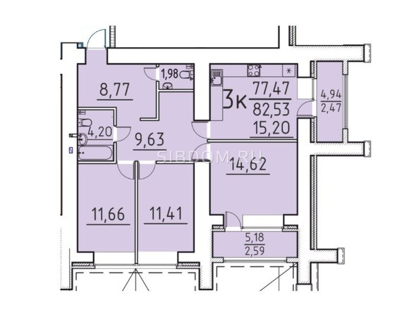 Планировка 3-комн 77,47, 82,53 м²
