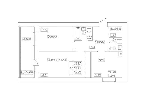 Планировка 2-комн 59,79 м²