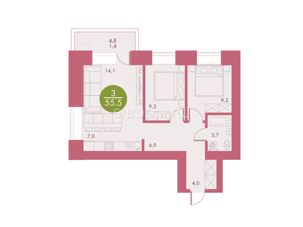 Планировки Жилой комплекс Арбан SMART (Смарт) на Шахтеров, д 1 - Планировка трехкомнатной квартиры 55,5 кв.м