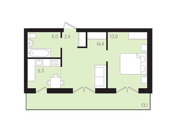 Планировки Жилой комплекс ДУНАЕВСКИЙ, дом 3 - Планировка двухкомнатной квартиры 41,8 кв.м