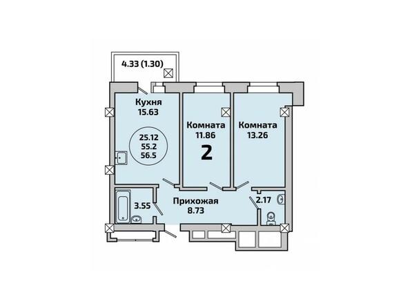 Планировки Жилой комплекс РОДНИКИ, дом 451 - Планировка двухкомнатной квартиры 56,5 кв.м