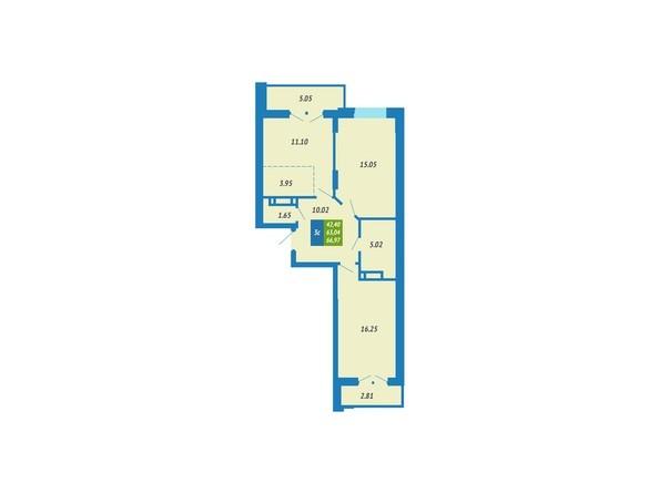 Планировка 3-комнатной квартиры 66,97 кв.м