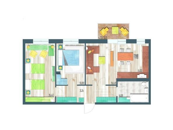 Планировки Жилой комплекс ЖИВЁМ эко-район, 10 квартал, дом 1 - Планировка трехкомнатной квартиры 66,53 кв.м