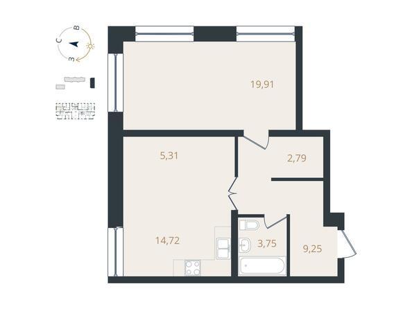 2-комнатная 55,73 кв.м