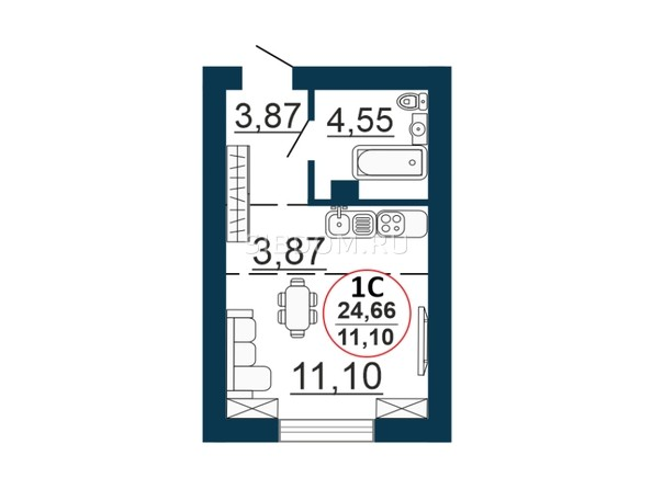 Планировка Студия 24,66 м²