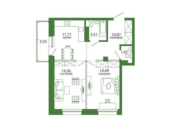 2-комнатная 60,06 кв.м