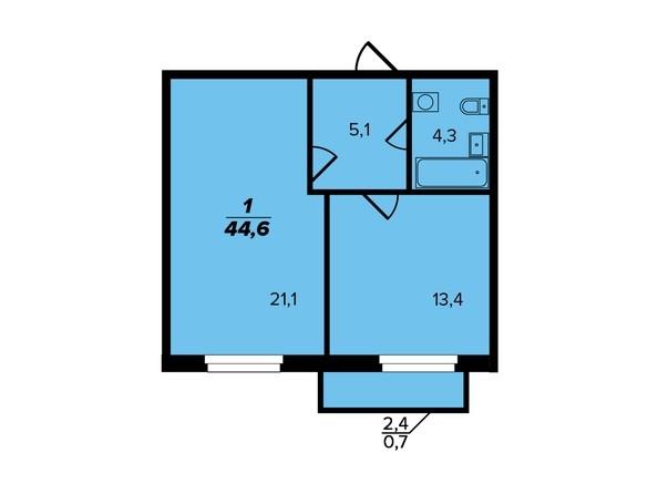 Планировка 1-комн 44,6 м²