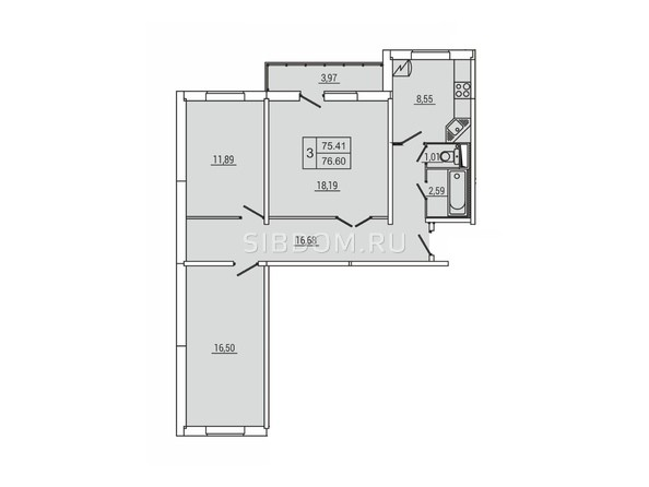Планировка 3-комн 76,6 м²