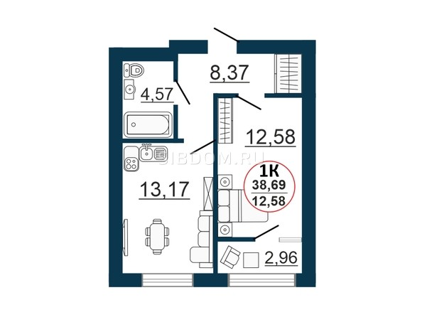 Планировка 1-комн 37,44 - 38,88 м²