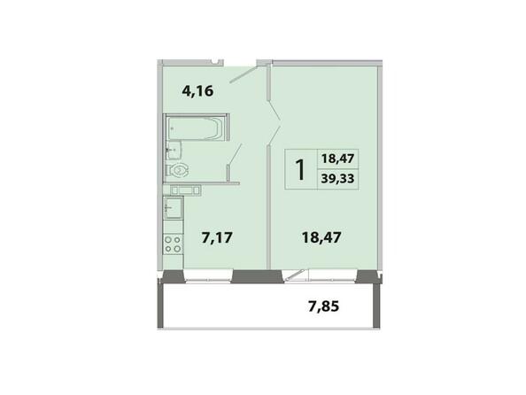 Планировки Жилой комплекс ЗЕЛЁНЫЕ ГОРКИ, КПД-2 - Планировка однокомнатной квартиры 39,33 кв.м