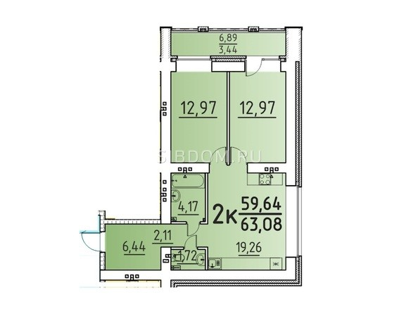 Планировка 2-комн 63,08 м²