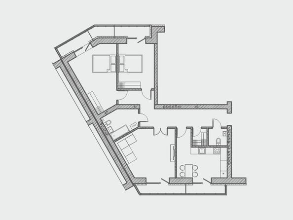 Планировки Жилой комплекс ПРЕОБРАЖЕНСКИЙ, дом 4 - Планировка трехкомнатной квартиры 100 кв.м