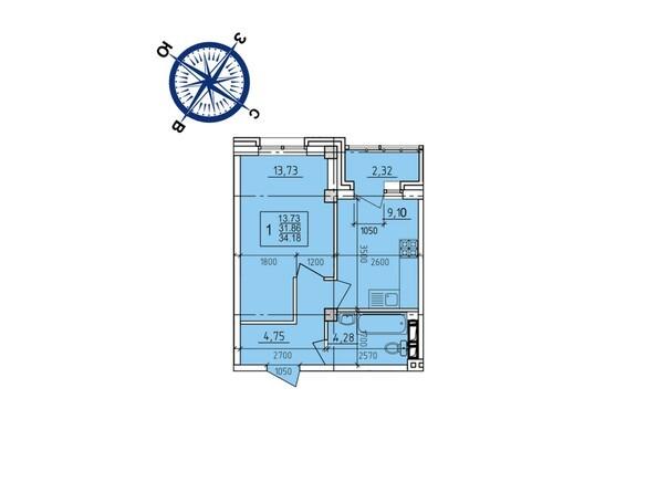 Планировки Жилой комплекс ИРКУТСКИЙ ДВОРИК-2, дом 3 (4,5,6,10 б/с) - Планировка однокомнатной квартиры 34,18 кв.м