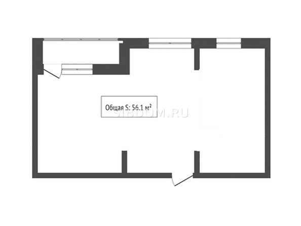 2-комнатная 56.1 кв.м