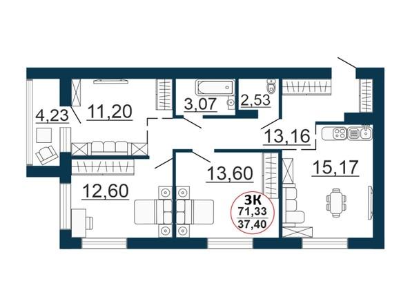 Планировка 3-комн 71,33 м²