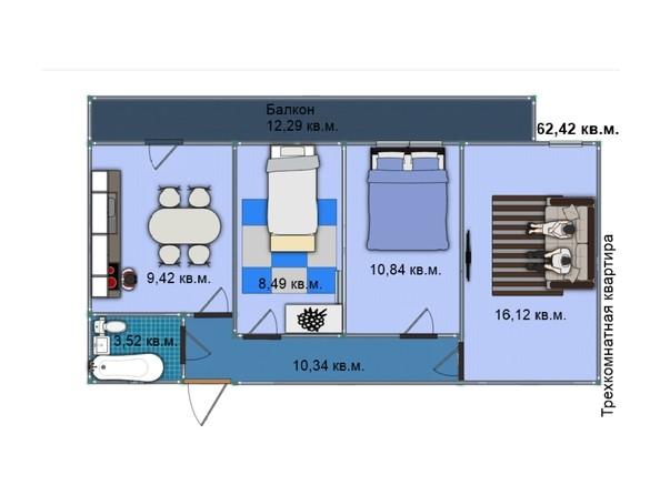 Планировка 3-комн 62,42 м²