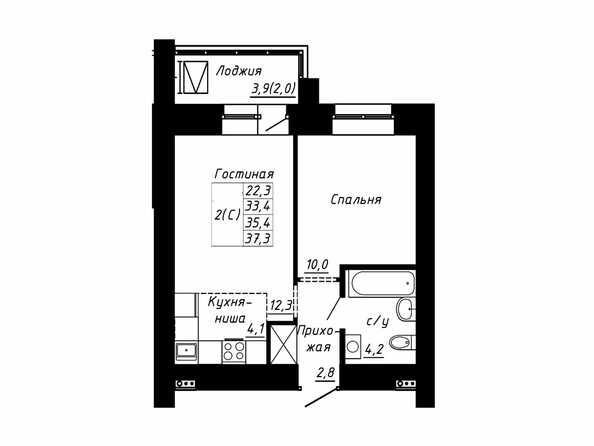 Планировка 2-комн 35,4, 37,3 м²