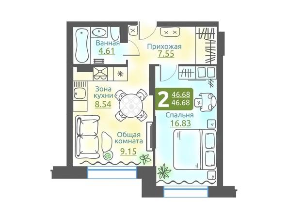 Планировка 2-комн 46,68 м²