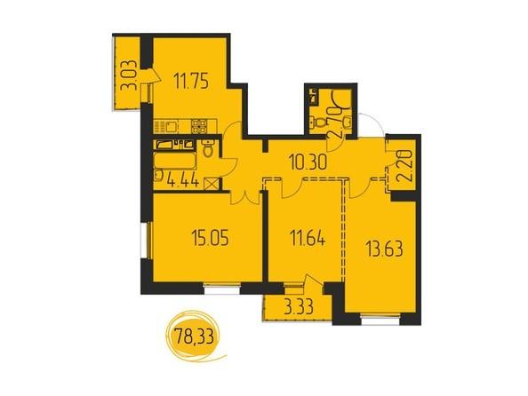 3-комнатная 78,33 кв.м