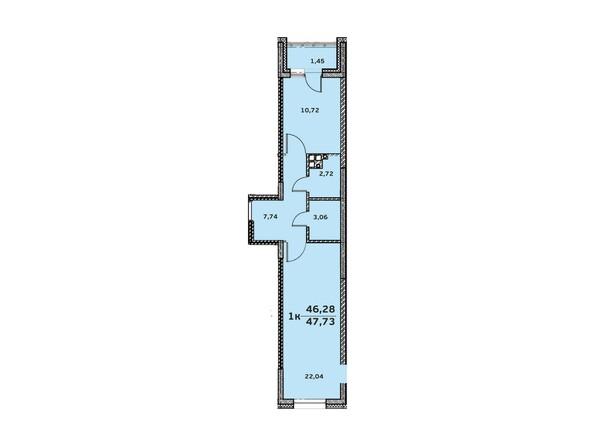 Планировка 1-комн 47,42 м²