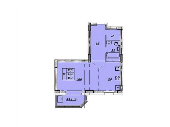 Планировки Жилой комплекс НОВАЯ ВЫСОТА, дом 1 - Планировка однокомнатной квартиры 45,7 кв.м