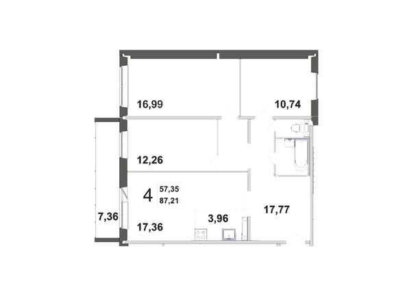 Планировки Жилой комплекс ЗЕЛЁНЫЕ ГОРКИ, КПД-21 - Планировка четырёхкомнатной квартиры 87,21 кв.м