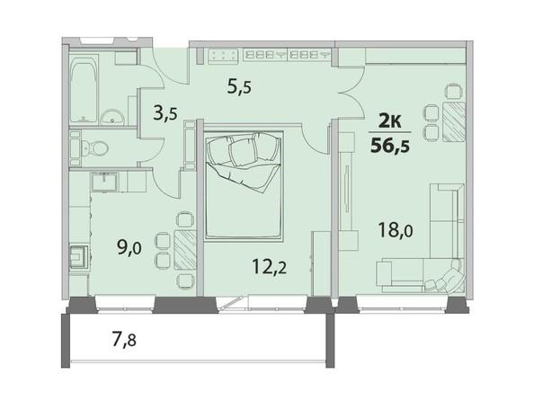 2-комнатная 56.5 кв.м