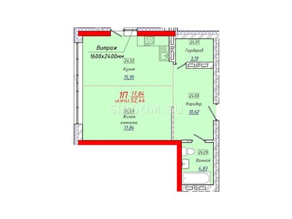 Планировки Жилой комплекс КЛАРУС-ПАРК - Планировка однокомнатной квартиры 52,44 кв.м.