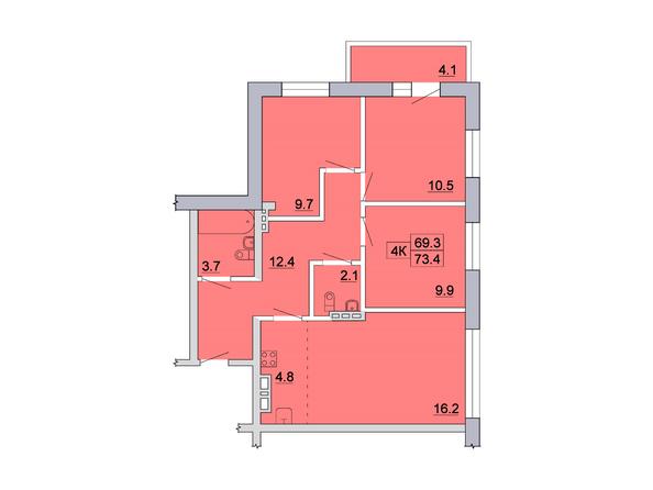 Планировка 4-комн 73,4 м²