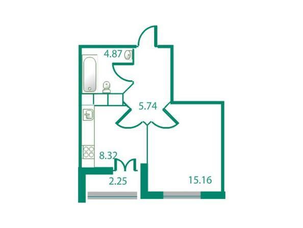 Планировки Жилой комплекс ИЗУМРУДНЫЙ БЕРЕГ, дом 1.2  - Планировка однокомнатной квартиры 35,35 кв.м