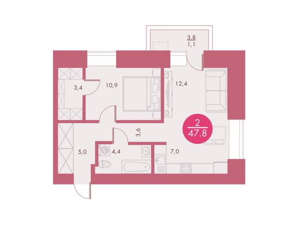 Планировки Жилой комплекс Арбан SMART (Смарт) на Шахтеров, д 3 - Планировка двухкомнатной квартиры 47,8 кв.м