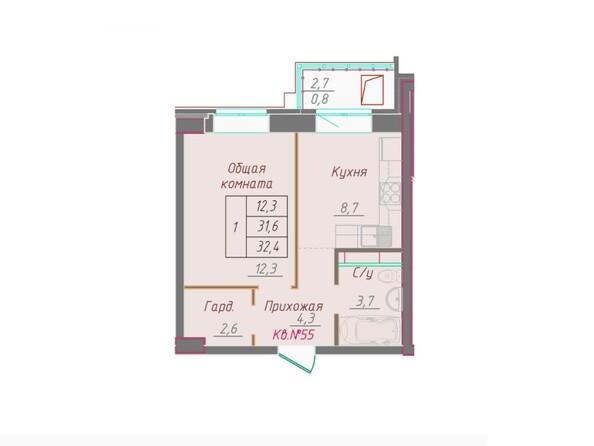 1-комнатная 32.4 кв.м