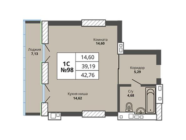 Планировки Жилой комплекс PRIME HOUSE (Прайм хаус) - Планировка однокомнатной квартиры 39,19 кв.м