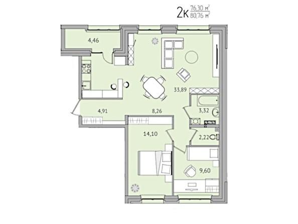 2-комнатная 80,76 кв.м