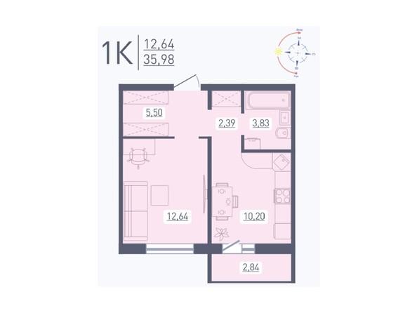 Планировка 1-комн 35,98 м²