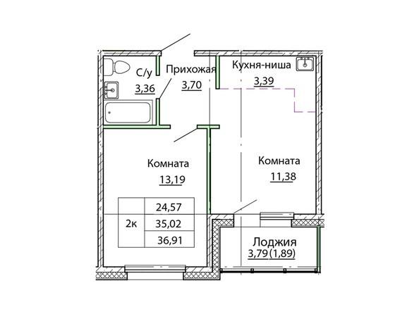 Планировка двухкомнатной квартиры 36,91 кв.м