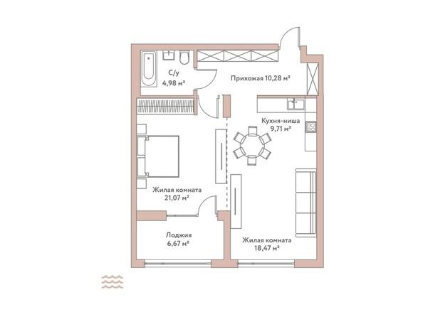 Планировка 2-комн 64,51 м²