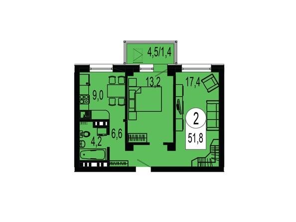 Планировка двухкомнатной квартиры 51,8 кв.м