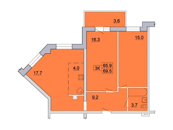 Планировка 3-комн 69,5 м²